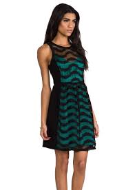 plenty by tracy reese lace spirals combo frock dress in black in