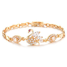 gold jewelry bracelet designs images Beautiful swan bracelet female gold color crystal hand jewelry jpg