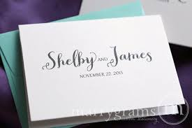personalized wedding thank you cards name date thick style