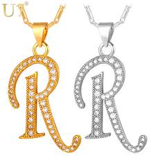 necklace pendant with initial images U7 capital initial r letter necklace pendant gold color cubic jpg