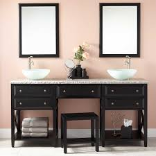 glympton vessel sink double vanity with makeup area black bathroom