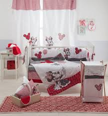 Red Mickey Mouse Curtains Disney Red Minnie Mouse 4 Piece Crib Bedding Set Girls Crib