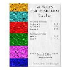 nail salon price list flyers u0026 programs zazzle