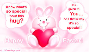 happy easter dear a bunny hug free family ecards greeting cards 123 greetings