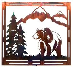 unique figure wall art for mountain grizzly bear frame style metal wall art laser cut metal