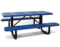 Red Cedar Octagon Walk In Picnic Table by Standard Perforated Metal Picnic Table