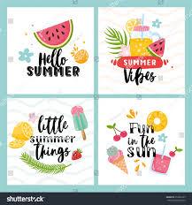 vector set four summer cards fruits stock vector 659963107