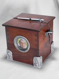 handmade wooden chest individual size funeral urn with pewter
