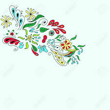 colorful organic ornament with flovers and leaves doodle royalty