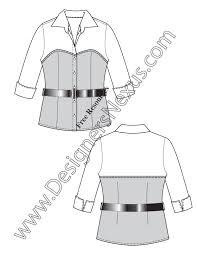 bustier blouse fashion flat sketch template