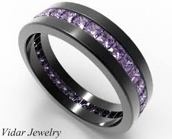 wedding band for princess cut amethyst men s wedding band in black gold vidar