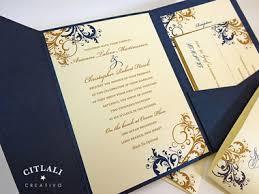 wedding invitations navy antique gold navy filigree swirl flourish pocket