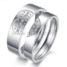 Heart Wedding Rings by Names Engraved 2 Broken Heart Promise Couples Rings For 2