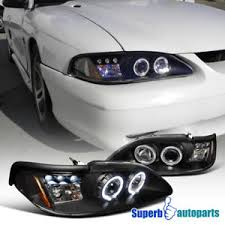 mustang projector headlights 1994 1998 ford mustang led dual halo projector headlights black