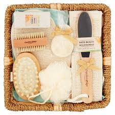 bath gift set essential design bath accessories gift set in a wicker basket