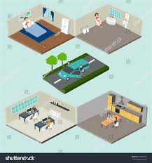 3d Office Floor Plan Flat 3d Isometric Abstract Home Office Stock Vector 295578875