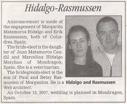 wedding announcement wedding announcement in newspaper american in spain