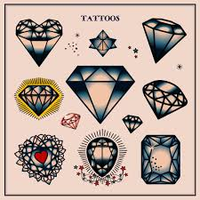 Tattoo Old School Diamond | set of diamond tattoos in traditional vintage style vector