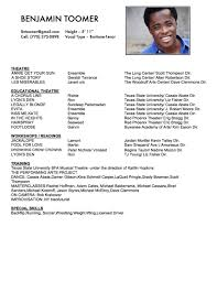 Skills For Acting Resume Musical Theatre Resume Physical Therapy Aide Resume