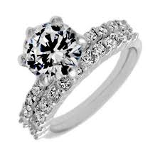 stone rings wholesale images Sterling silver 2 band engagement wedding ring set round cut jpg