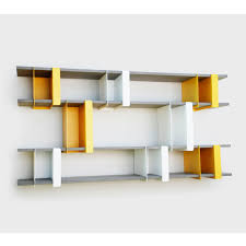 Bookshelf Design Ideas by Accessories Charming Asymmetrical Shelves Wall Mounted Orange