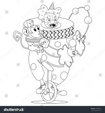 coloring book page circus clown juggling stock vector 584980615