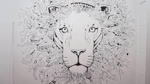 pare de desenho na parede leão