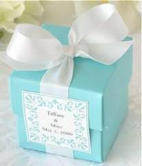 Blue Favor Boxes by Blue Wedding Favor Boxes With Brown Ribbons And