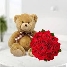 flower pic love messenger send teddy and bouquet bunch online