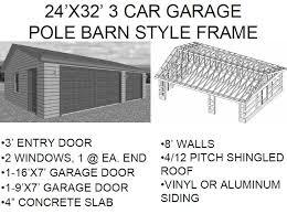 size of a 3 car garage 24 x32 3 car garage pole barn style frame free house plan reviews