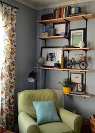 livingroom shelves living room tour industrial shelving by meg padgett from rev