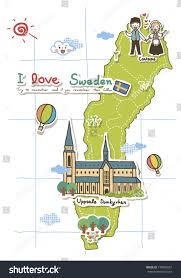 Map Sweden Map Sweden People Standing On It Stock Illustration 170005601