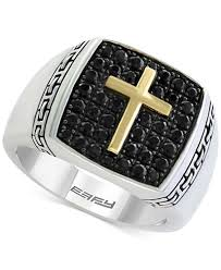 black sapphire rings images Balissima by effy men 39 s black sapphire cross ring 1 1 4 ct t w tif