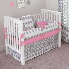 Pink And Grey Crib Bedding Sets Elephants Crib Bedding Set Choose Trim Color By Sofia