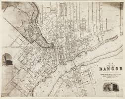 Maps Portland Maine Map Of The City Of Bangor Penobscot County Maine 1853