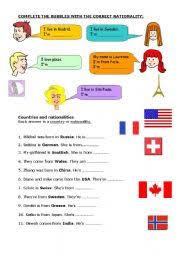 esl kids worksheets countries nationalities