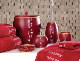 Red And Gray Bathroom Sets Modern Bathroom Accessories Red Bathroom Set Of Five Pieces Realie