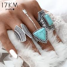 finger rings set images 17km 3pcs set boho vintage punk silver color stone midi finger jpeg