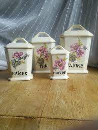vintage french porcelain kitchen canister set flowers lids art