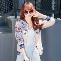 carp embroidered jacket spell color design womens bomber jackets