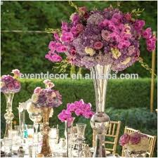 silver vase and flower centerpiece glass trumpet vase for weddings