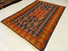Aztec Area Rug Coral Color Turkish Kilim Area Rug Turkish Kilim Rug Flat Weaving