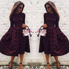 Long Sleeve Black Fit And Flare Dress Red Floral Print Pleated Plaid Fit And Flare Long Sleeve Cotton