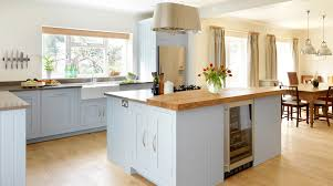 blue painted shaker kitchen from harvey jones