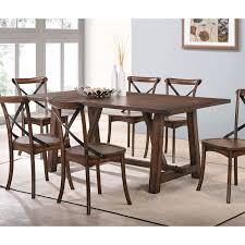 sauder beginnings trestle table with benches cinnamon cherry