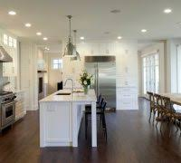 Neutral Colored Kitchens - partition cabinet living room kitchen traditional with eat in