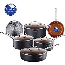 black friday pots and pans set amazon com gotham steel 10 piece nonstick frying pan and cookware