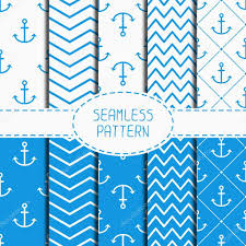 anchor wrapping paper set of blue marine geometric seamless pattern with anchor wrapping