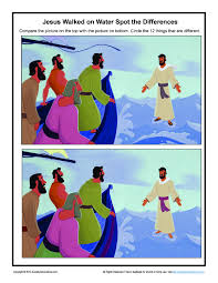 jesus walks on water spot the differences game bible activities