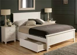 queen size gray walnut wood low bed frame with white wooden